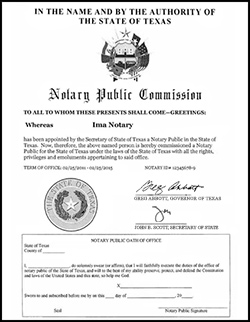 Sample of current notary commission sent by mail.
