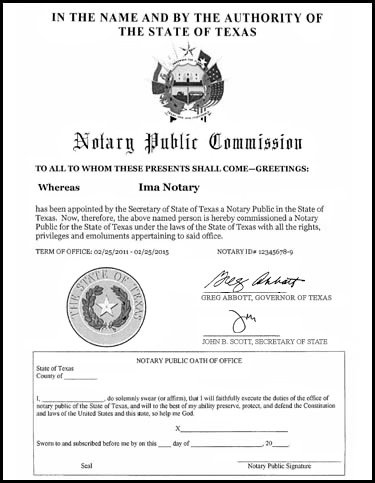 Sample Notary Commissions Issued by the Office of the Secretary of ...