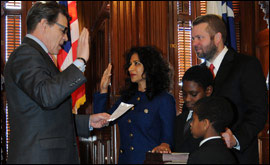 Governor Rick Perry swears Nandita Berry Texas Secretary of State