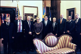 Secretary Pablos poses with the Swedish delegation.