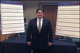 Secretary Pablos standing next to two posters